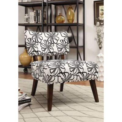 Able Accent Chair in White Fabric & Espresso - 59392