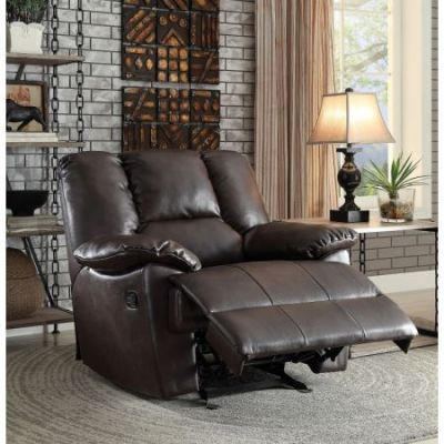 Oliver Glider Recliner Motion in Dark Brown Leather-Aire - 59432