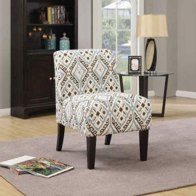 Ollano Accent Chair with Blue Pattern Fabric Finish - 59437
