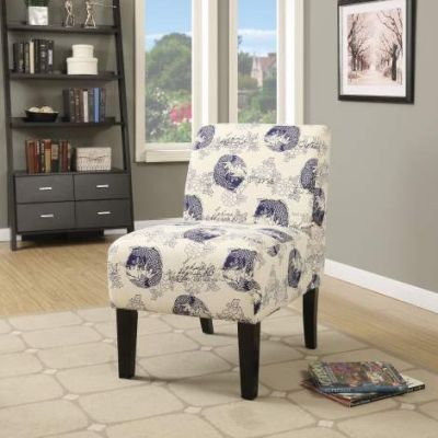 Ollano Accent Chair with Blue Fish Pattern Fabric Finish - 59439