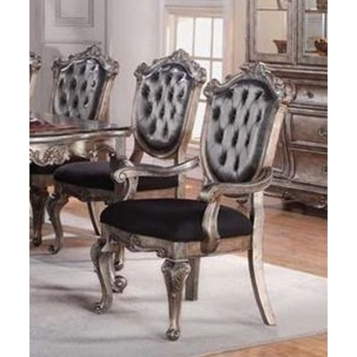 Chantelle Arm Chair in Antique Platinum & Silver Gray - 60543