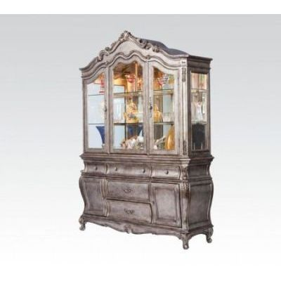 Chantelle Antique Platinum Buffet with Hutch China Cabinet - 000465_kit