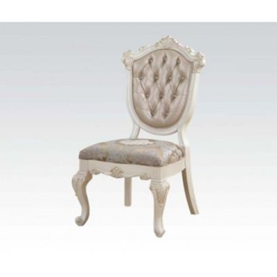 Chantelle Side Chair in Rose Gold PU & Pearl White Set of 2 - 63542