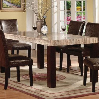 Fraser Faux Marble Dining Table Espresso Finish - 000500_kit