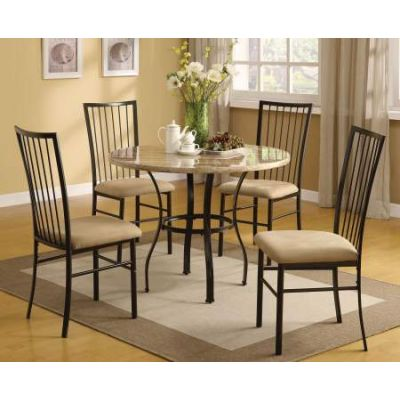 Darell 5 Piece Stoneberry Dining Set in Faux Marble & Mfb - 70295