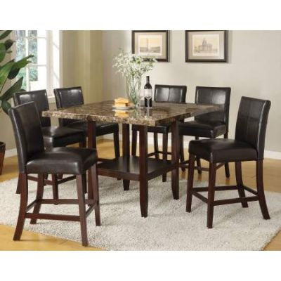 Idris Counter Height Table in Faux Marble Espresso Leg - 70355