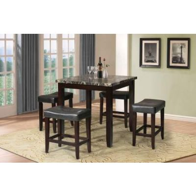 Ainsley 5 Piece Stoneberry Counter Height Set in Black - 70728