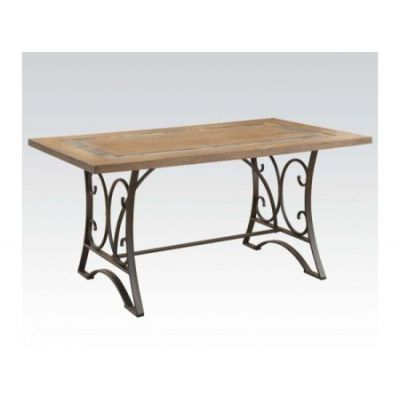 Kiele Dining Table in Oak & Antique Black Slate Top Insert - 71150