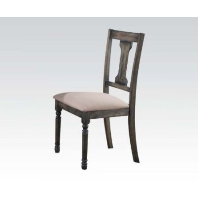 Wallace Side Chair in Gray Linen & Weathered Blue - 71437
