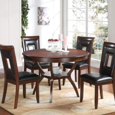 Oswell 5 Piece Stoneberry Dining Set in Black and Cherry - 71597