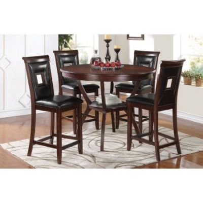 Oswell 5 Piece Stoneberry Counter Height Set in Black Cherry - 71599