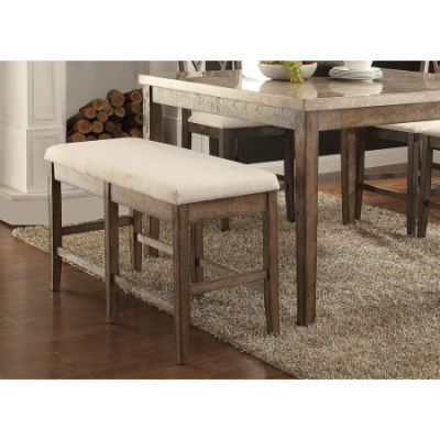 Claudia Counter Height Bench in White Marble & Brown - 71723