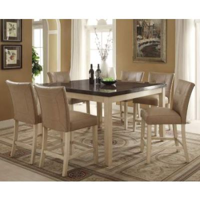 Faymoor Counter Height Table in Limestone Marble & Ant. Wh - 71760