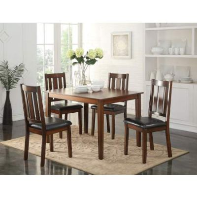 Flihvine 5 Piece Stoneberry Dining Set in Black PU & Walnut