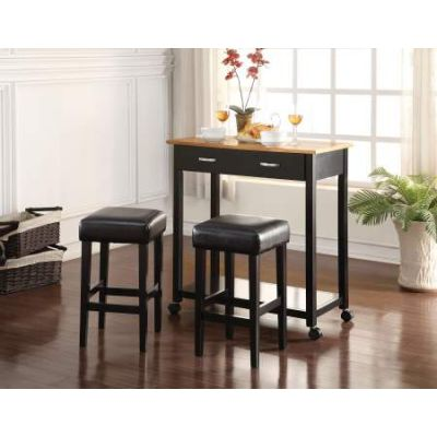 Maroth 3 Piece Stoneberry Counter Height Set in Black - 72550