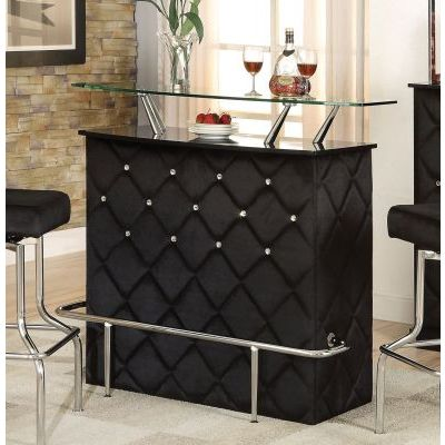 Jacey Black Velvet Wine Storage Bar Table - 000534_kit