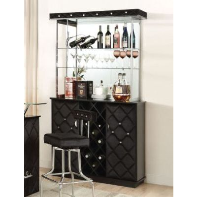 Jacey Black Velvet Storage Padded Bar Cabinet - 000535_kit