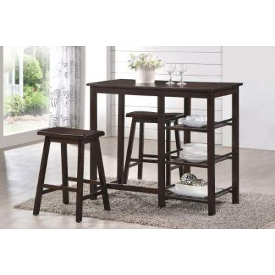 Nyssa 3 Piece Stoneberry Counter Height Set in Walnut - 73050