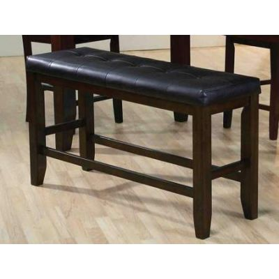 Urbana Counter Height Bench in Black PU & Espresso - 74634