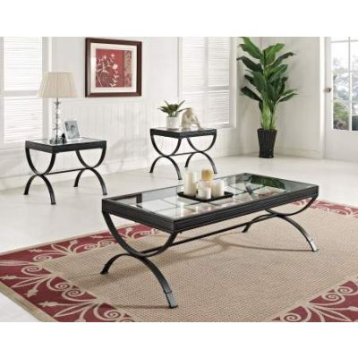 Quintin 3 Piece Coffee/End Table Set in Black & Clear Glass - 80077