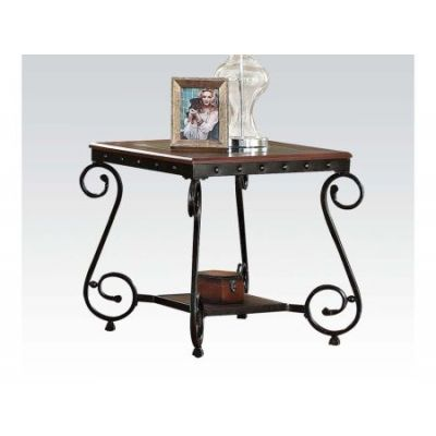 Waneta End Table in Brown Cherry - 80091