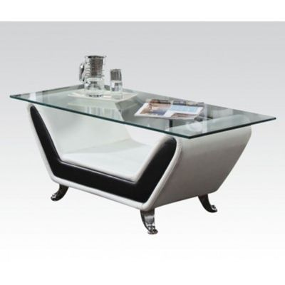 Rozene White Black Bonded Leather Glass Top Coffee Table - 000538_kit