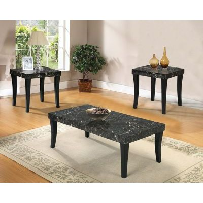 Gale 3 Piece Coffee/End Table Set in Black Faux Marble - 80366