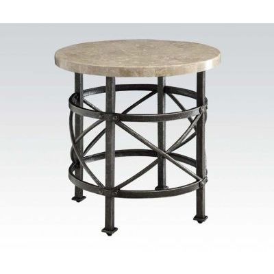 Nestor Round Marble Top Antique Black End Table - 000542_kit
