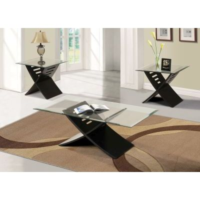 Elhan Black 3 pieces Glass Top Coffee and End Table Set - 000545_kit