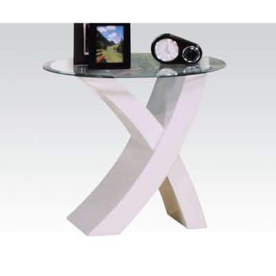 Pervis White End Table with Glass Top - 000547_kit