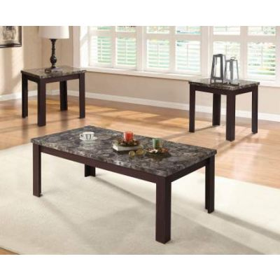 Carly 3 Piece Coffee/End Table Set in Faux Marble & Cherry - 81402