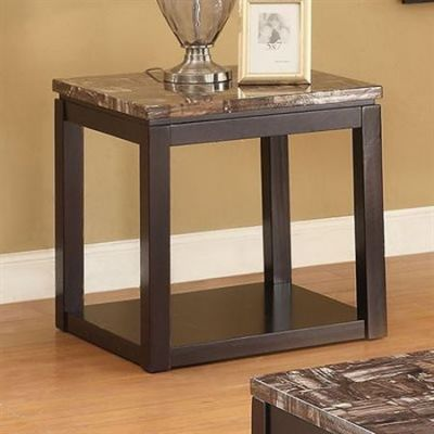 Dusty End Table in Faux Marble & Espresso - 82128