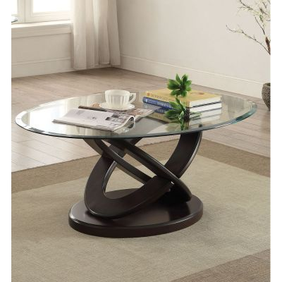 Gable Espresso Glass Top Oval Coffee Table - 000562_kit