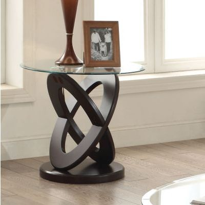 Gable Espresso Glass Top Round End Table - 000563_kit