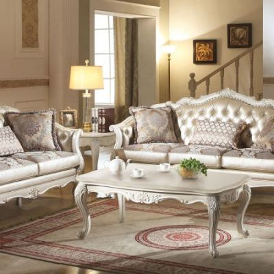 Chantelle Coffee Table with Marble Top in Marble & Pearl - 83540