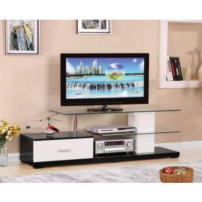 Ivana White and Black TV Stand with 10mm Tempered Glass Top - 000568_kit