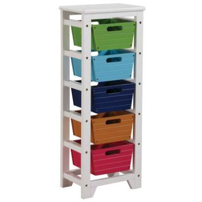 Darvin Storage Rack with 5 Baskets in Green Blue Brown & Red - 92154