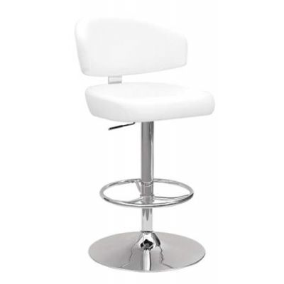 Deka Adjustable Stool with Swivel in White & Chrome - 96258
