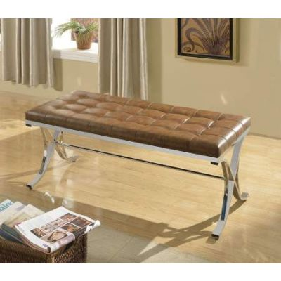 Royce Brown PU and Chrome Bench - 96414