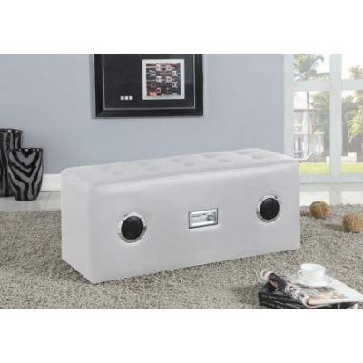 Laila Sound Lounge Bench with Bluetooth Speaker in White - 96527