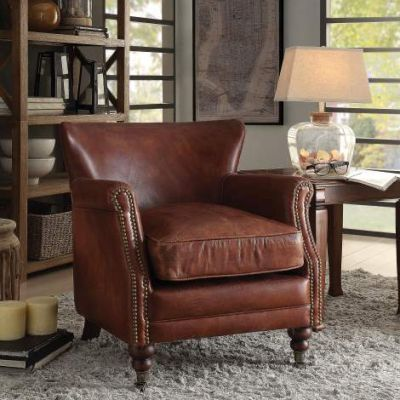 Leeds Accent Chair with Vintage Dark Brown Finish - 96679