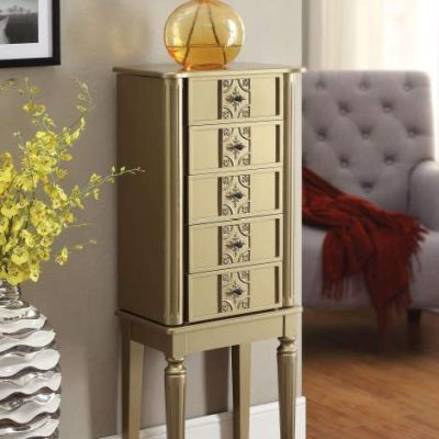 Tammy Jewelry Armoire with Gold Finish - 97169