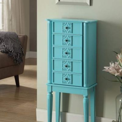 Tammy Jewelry Armoire with Light Blue Finish - 97170