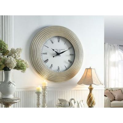 Shannon Wall Clock in Silver PU - 97230