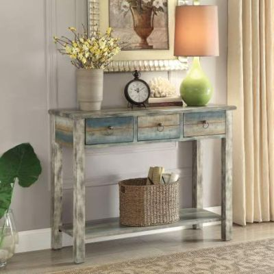 Glancio Console Table with Antique White & Teal Finish - 97257