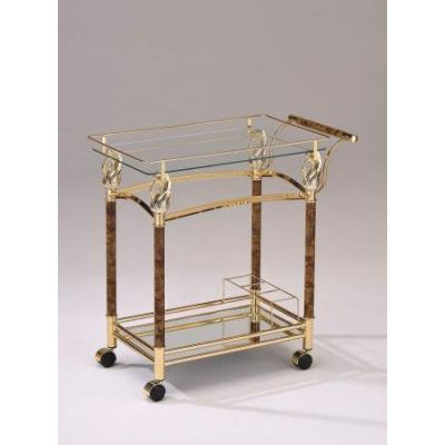 Helmut Serving Cart in Golden Plated & Clear Glass - 98002