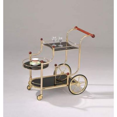 Lacy  Gold Plated Serving Cart in Cherry and Black - 98006