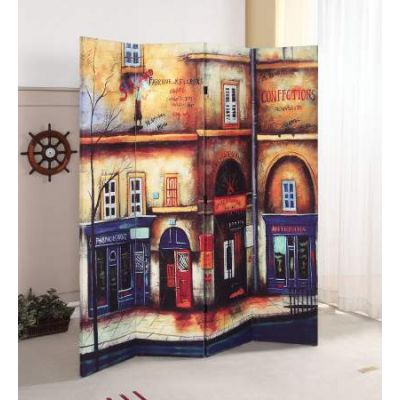 Trudy 4-Panel Wooden Screen in Scenery - 98018
