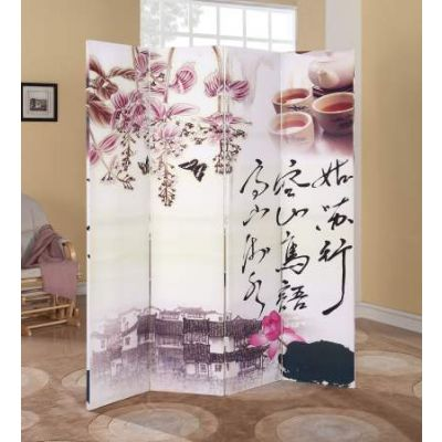 Trudy 4-Panel Wooden Screen in Scenery - 98019