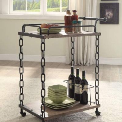 Jodie Serving Cart with Rustic Oak & Antique Black Finish - 98172